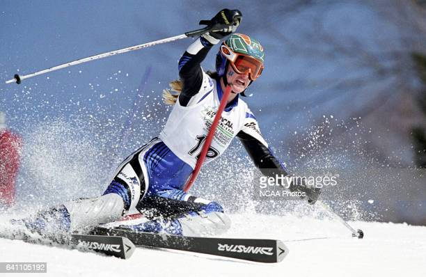 Quincy Young of the University of Nevada races to a 12th place finish in the women's slalom during the Division 1 Women's Skiing Championship held at...