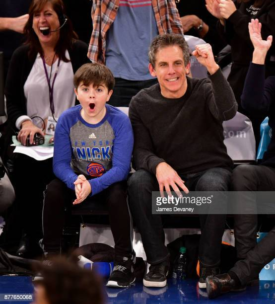 Quinlin Stiller and Ben Stiller attend the Toronto Raptors Vs New York Knicks game at Madison Square Garden on November 22 2017 in New York City