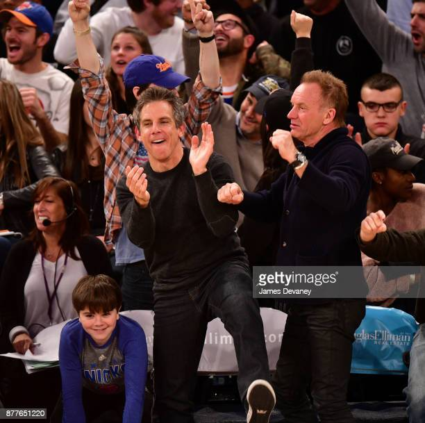 Quinlin Stiller Ben Stiller and Sting attend the Toronto Raptors Vs New York Knicks game at Madison Square Garden on November 22 2017 in New York City