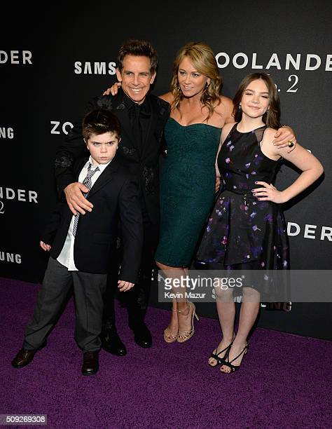 Quinlin Stiller Ben Stiller Christine Taylor and Ella Stiller attend the 'Zoolander 2' World Premiere at Alice Tully Hall on February 9 2016 in New...