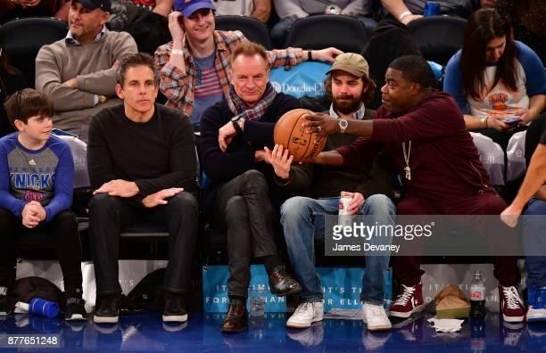 Quinlin Stiller Ben Stiller Sting guest and Tracy Morgan attend the Toronto Raptors Vs New York Knicks game at Madison Square Garden on November 22...