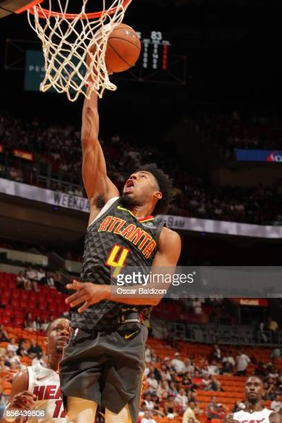 Quinn Cook of the Atlanta Hawks goes for a layup during the preseason game on October 1 2017 at American Airlines Arena in Miami Florida NOTE TO USER...