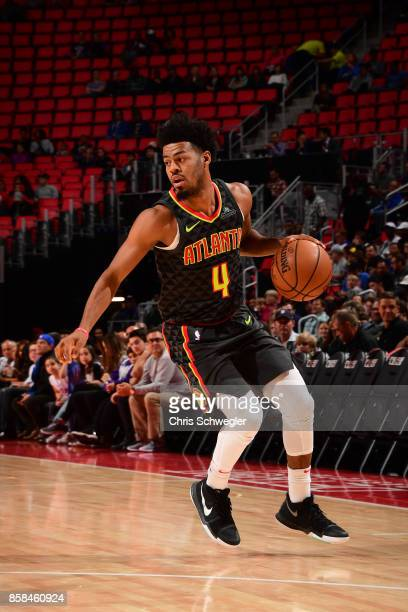Quinn Cook of the Atlanta Hawks handles the ball against the Detroit Pistons on October 6 2017 at Little Caesars Arena in Detroit Michigan NOTE TO...