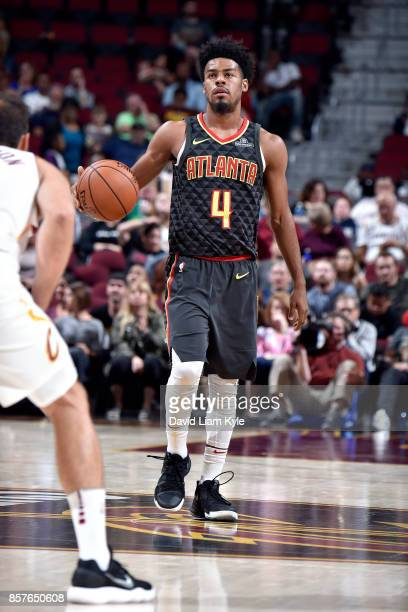 Quinn Cook of the Atlanta Hawks handles the ball during the preseason against the Cleveland Cavaliers game on October 4 2017 at Quicken Loans Arena...