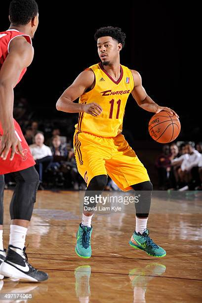Quinn Cook of the Canton Charge controls the ball against the Maine Red Claws at the Canton Memorial Civic Center on November 14 2015 in Canton Ohio...