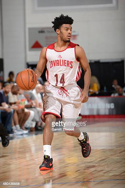 Quinn Cook of the Cleveland Cavaliers dribbles the ball against the Brooklyn Nets on July 11 2015 at the Cox Pavilion in Las Vegas Nevada NOTE TO...