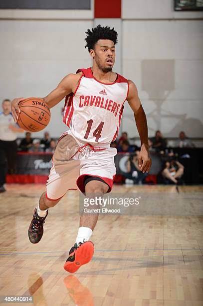 Quinn Cook of the Cleveland Cavaliers drives to the basket against the Brooklyn Nets on July 11 2015 at the Cox Pavilion in Las Vegas Nevada NOTE TO...