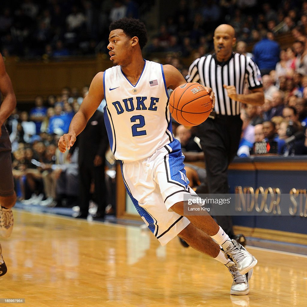 <a gi-track='captionPersonalityLinkClicked' href=/galleries/search?phrase=Quinn+Cook&family=editorial&specificpeople=6753591 ng-click='$event.stopPropagation()'>Quinn Cook</a> #2 of the Duke Blue Devils dribbles against the Bowie State Bulldogs at Cameron Indoor Stadium on October 26, 2013 in Durham, North Carolina. Duke defeated Bowie State 103-67.