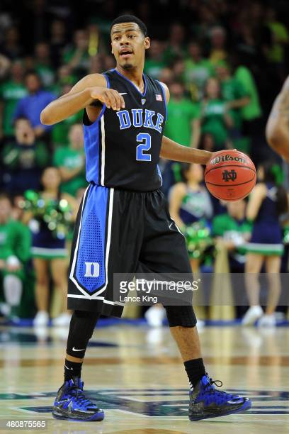 Quinn Cook of the Duke Blue Devils dribbles against the Notre Dame Fighting Irish at Purcell Pavilion at the Joyce Center on January 4 2014 in South...
