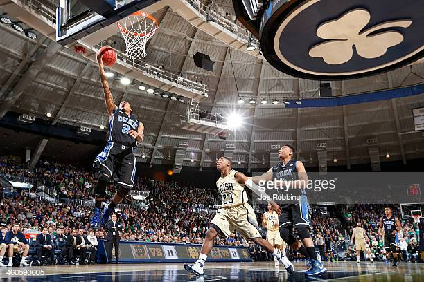 Quinn Cook of the Duke Blue Devils drives to the basket against the Notre Dame Fighting Irish during the first half of the game at Purcell Pavilion...