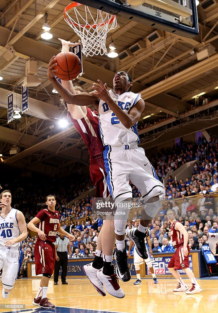Quinn Cook #2 of the Duke Blue Devils drives to the basket during their game against the Boston College Eagles at Cameron Indoor Stadium on February 24, 2013 in Durham, North Carolina.