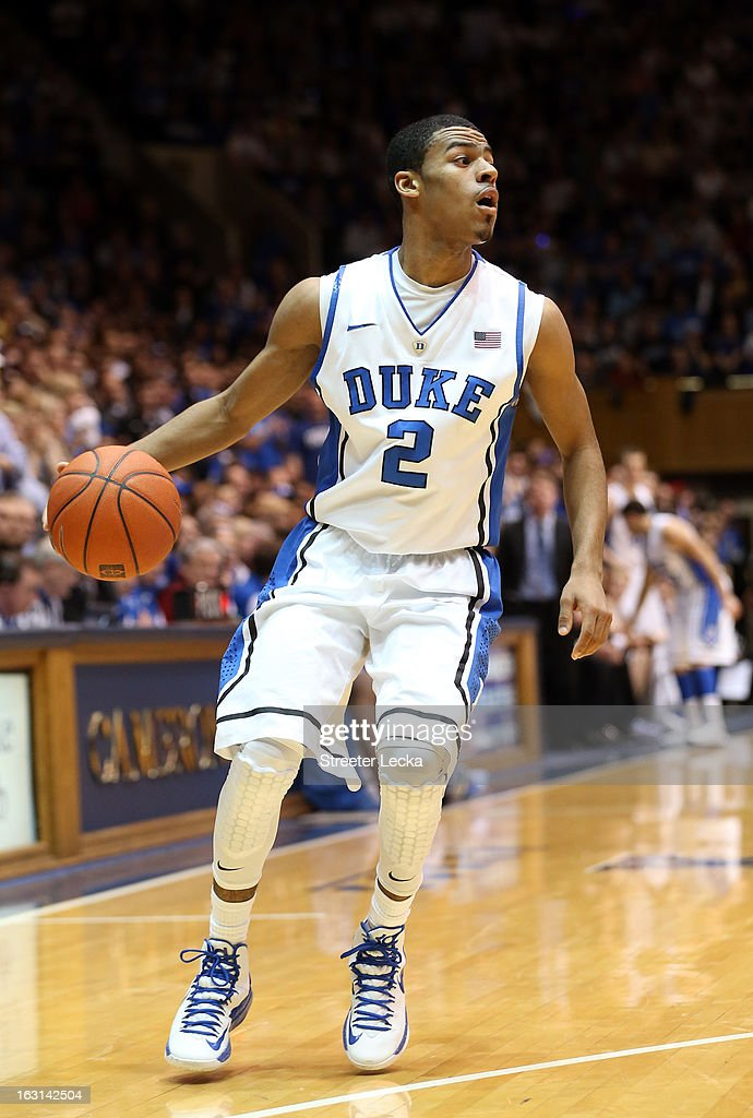 <a gi-track='captionPersonalityLinkClicked' href=/galleries/search?phrase=Quinn+Cook&family=editorial&specificpeople=6753591 ng-click='$event.stopPropagation()'>Quinn Cook</a> #2 of the Duke Blue Devils during their game at Cameron Indoor Stadium on February 13, 2013 in Durham, North Carolina.