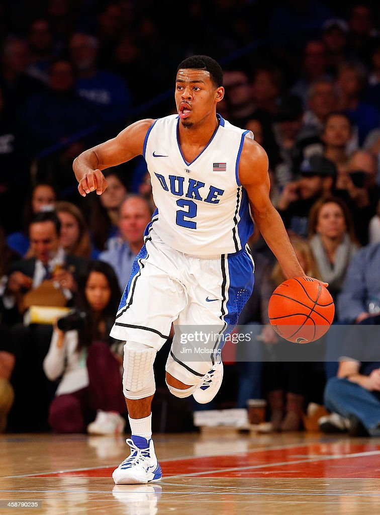 Quinn Cook #2 of the Duke Blue Devils in action against the UCLA Bruins during the CARQUEST Auto Parts Classic on December 19, 2013 at Madison Square Garden in New York City. Duke defeated UCLA 80-63.