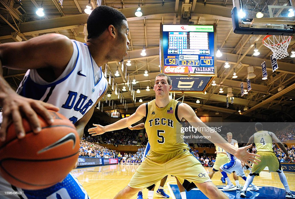 <a gi-track='captionPersonalityLinkClicked' href=/galleries/search?phrase=Quinn+Cook&family=editorial&specificpeople=6753591 ng-click='$event.stopPropagation()'>Quinn Cook</a> #2 of the Duke Blue Devils inbounds the ball against Daniel Miller #5 of the Georgia Tech Yellow Jackets during play at Cameron Indoor Stadium on January 17, 2013 in Durham, North Carolina. Duke won 73-57.