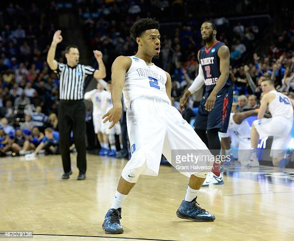 Quinn Cook of the Duke Blue Devils reacts after a play against the Robert Morris Colonials during the second round of the 2015 NCAA Men's Basketball...
