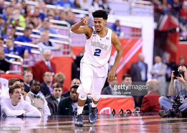 Quinn Cook of the Duke Blue Devils reacts after a play in the first half against the Michigan State Spartans during the NCAA Men's Final Four...