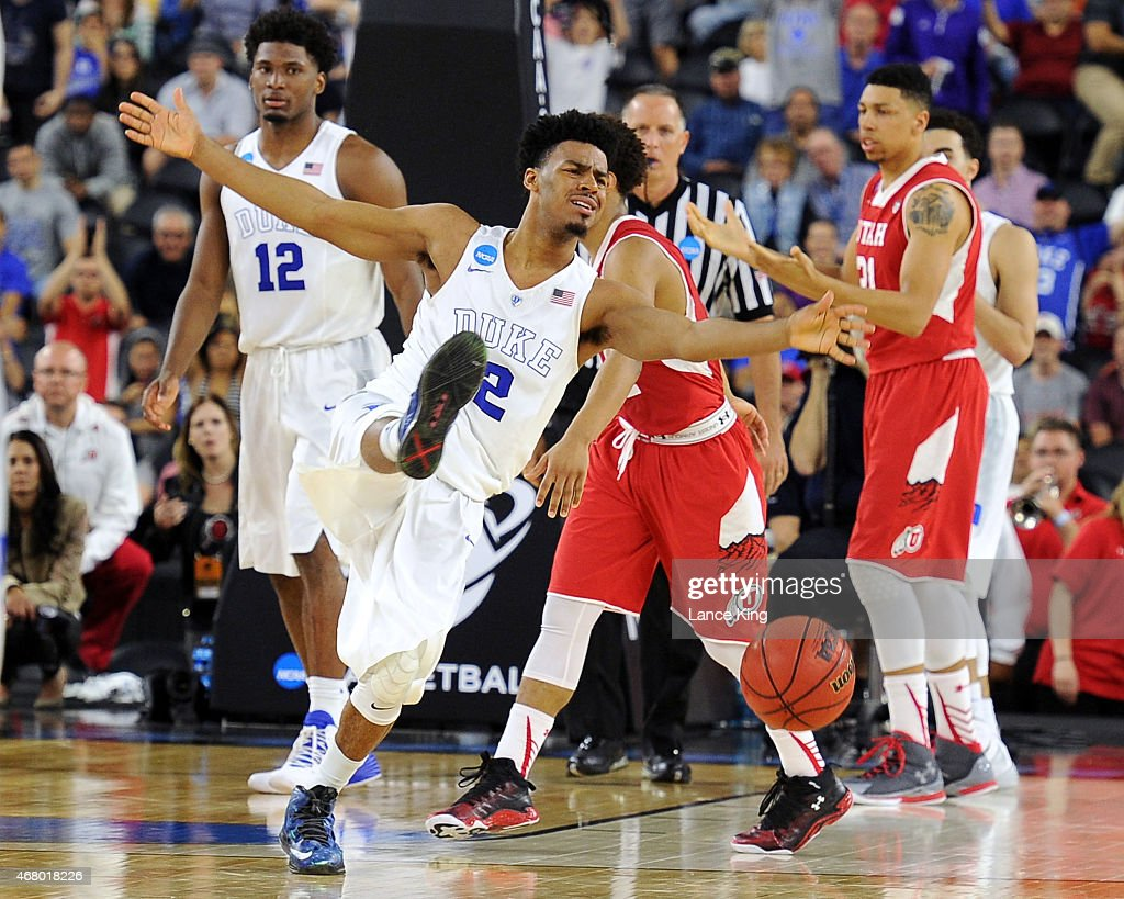 <a gi-track='captionPersonalityLinkClicked' href=/galleries/search?phrase=Quinn+Cook&family=editorial&specificpeople=6753591 ng-click='$event.stopPropagation()'>Quinn Cook</a> #2 of the Duke Blue Devils reacts after being fouled late in the game against the Utah Utes during the South Regional Semifinal round of the 2015 NCAA Men's Basketball Tournament at NRG Stadium on March 27, 2015 in Houston, Texas. Duke won 63-57.