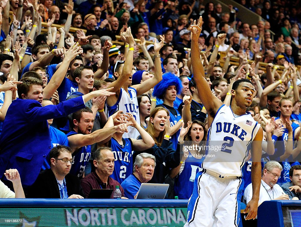 <a gi-track='captionPersonalityLinkClicked' href=/galleries/search?phrase=Quinn+Cook&family=editorial&specificpeople=6753591 ng-click='$event.stopPropagation()'>Quinn Cook</a> #2 of the Duke Blue Devils reacts after making a three-point basket against the Clemson Tigers during play at Cameron Indoor Stadium on January 8, 2013 in Durham, North Carolina. Duke won 68-40.
