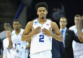 Quinn Cook of the Duke Blue Devils reacts against the San Diego State Aztecs during the third round of the 2015 NCAA Men's Basketball Tournament at...