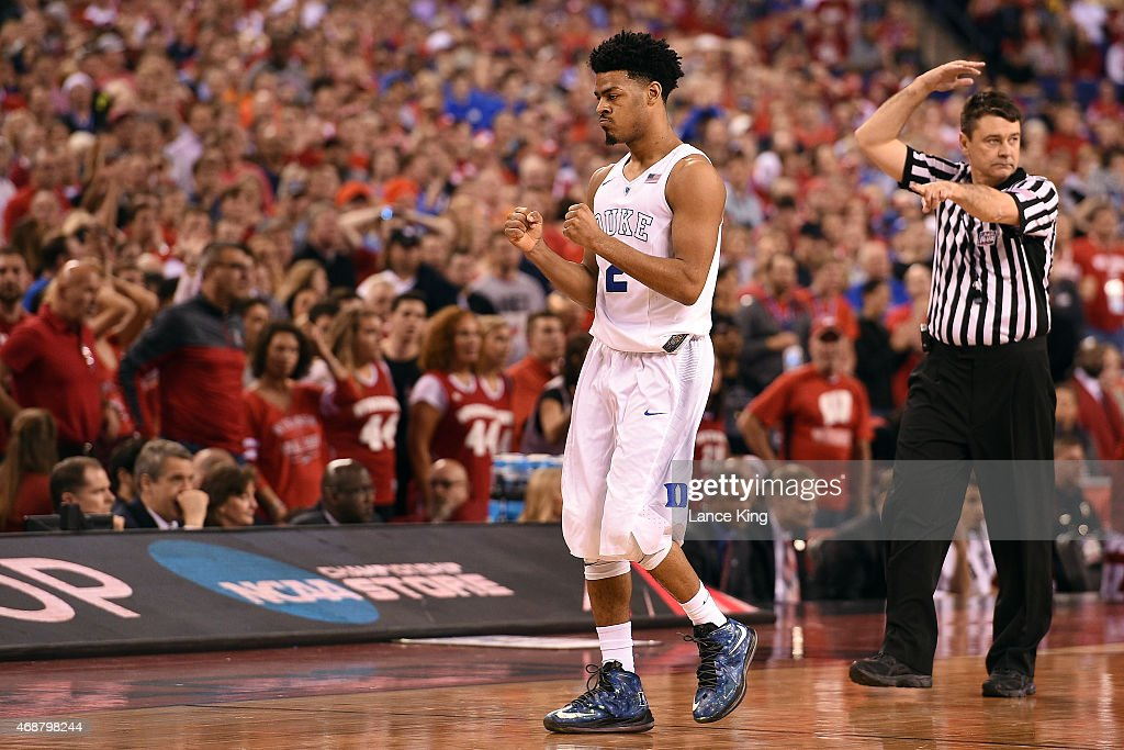 Quinn Cook of the Duke Blue Devils reacts against the Wisconsin Badgers during the NCAA Men's Final Four Championship at Lucas Oil Stadium on April 6...