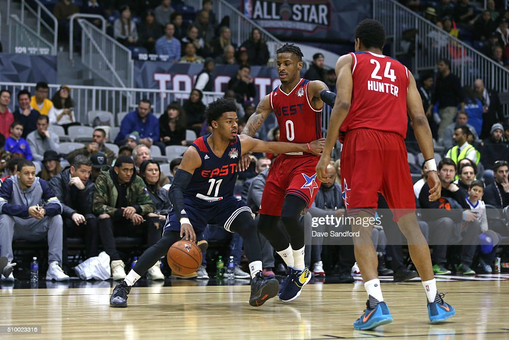 <a gi-track='captionPersonalityLinkClicked' href=/galleries/search?phrase=Quinn+Cook&family=editorial&specificpeople=6753591 ng-click='$event.stopPropagation()'>Quinn Cook</a> #11 of the East handles the ball against the West during the NBA D-League All-Star Game 2016 presented by Kumho Tire as part of 2016 All-Star Weekend at the Ricoh Coliseum on February 13, 2016 in Toronto, Ontario, Canada.