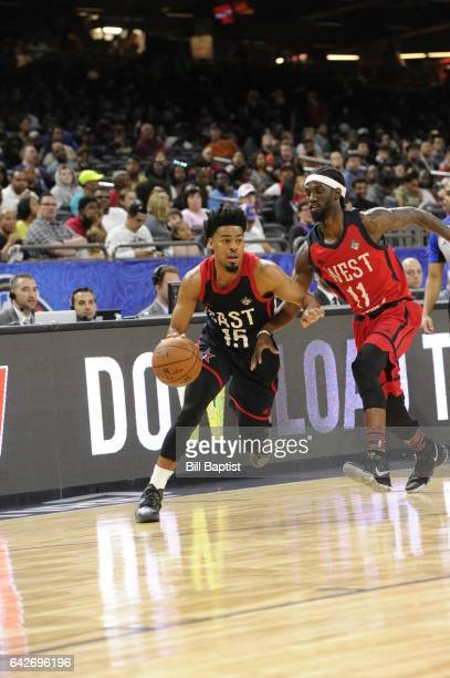 Quinn Cook of the East Team drives the ball against the Briante Weber of the West Team during the 2017 NBA DLeague AllStar Game Presented By Kumho...
