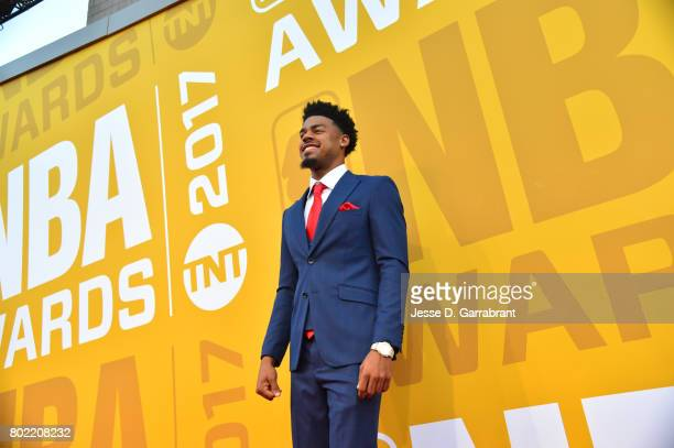 Quinn Cook of the New Orleans Pelicans arrives on the red carpet during the 2017 NBA Awards Show on June 26 2017 at Basketball City in New York City...