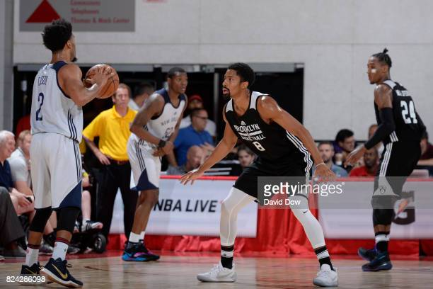 Quinn Cook of the New Orleans Pelicans handles the ball against Spencer Dinwiddie of the Brooklyn Nets during the 2017 Las Vegas Summer League on...
