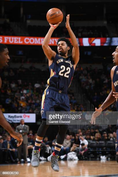 Quinn Cook of the New Orleans Pelicans shoots the ball against the Denver Nuggets on April 7 2017 at the Pepsi Center in Denver Colorado NOTE TO USER...