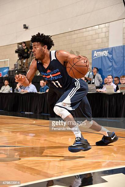 Quinn Cook of the Oklahoma City Thunder handles the ball against the Los Angeles Clippers in the 2015 Orlando Pro Summer League on July 7 2015 at...