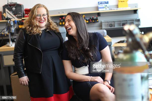 Quinn Fitzgerald left and Sara de Zarraga are pictured at the Harvard Innovation Lab in Boston's Allston neighborhood on May 6 2017 The pair run...