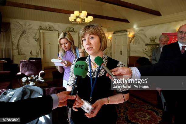 Quinn Insurance worker Amanda O'Keefe speaking to the media in Cavan Ireland after administrators announced that around 900 jobs will be lost as part...