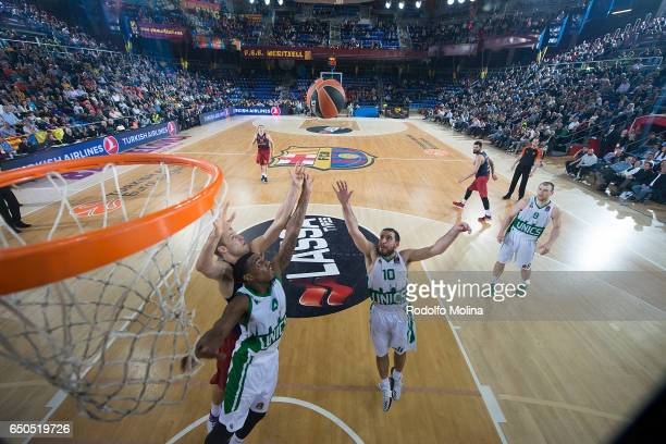 Quino Colom #10 of Unics Kazan and Coty Clarck #4 competes with Aleksandar Vezenkov #14 of FC Barcelona Lassa during the 2016/2017 Turkish Airlines...