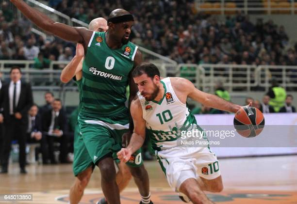 Quino Colom #10 of Unics Kazan competes with Chris Singleton #0 of Panathinaikos Superfoods Athens during the 2016/2017 Turkish Airlines EuroLeague...