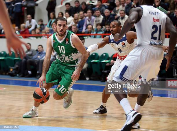 Quino Colom #10 of Unics Kazan competes with Dontaye Draper #4 of Real Madrid during the 2016/2017 Turkish Airlines EuroLeague Regular Season Round...