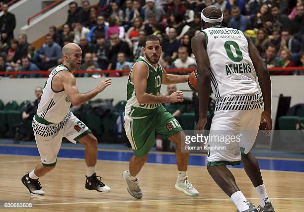 Quino Colom #10 of Unics Kazan competes with Nick Calathes #33 of Panathinaikos Superfoods Athens during the 2016/2017 Turkish Airlines EuroLeague...