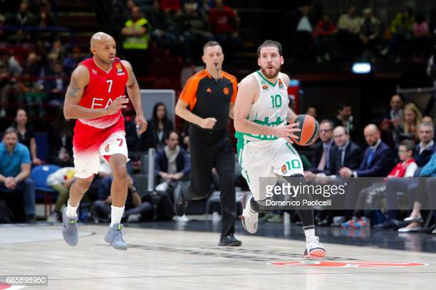 Quino Colom #10 of Unics Kazan competes with Ricky Hickman #7 of EA7 Emporio Armani Milan during the 2016/2017 Turkish Airlines EuroLeague Regular...
