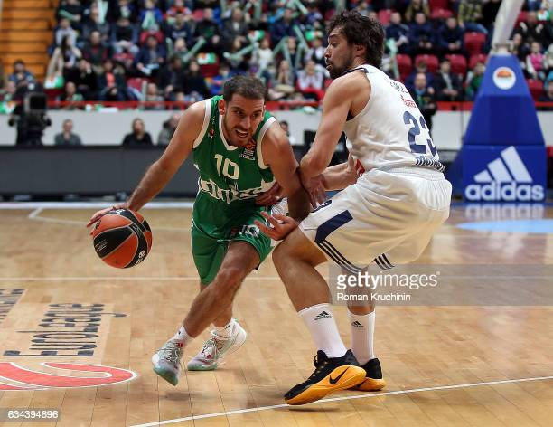 Quino Colom #10 of Unics Kazan competes with Sergio Llull #23 of Real Madrid during the 2016/2017 Turkish Airlines EuroLeague Regular Season Round 22...