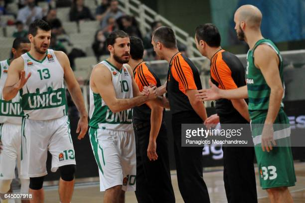 Quino Colom #10 of Unics Kazan greets the referrees during the 2016/2017 Turkish Airlines EuroLeague Regular Season Round 23 game between...