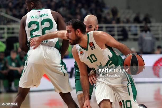 Quino Colom #10 of Unics Kazan in action during the 2016/2017 Turkish Airlines EuroLeague Regular Season Round 23 game between Panathinaikos...
