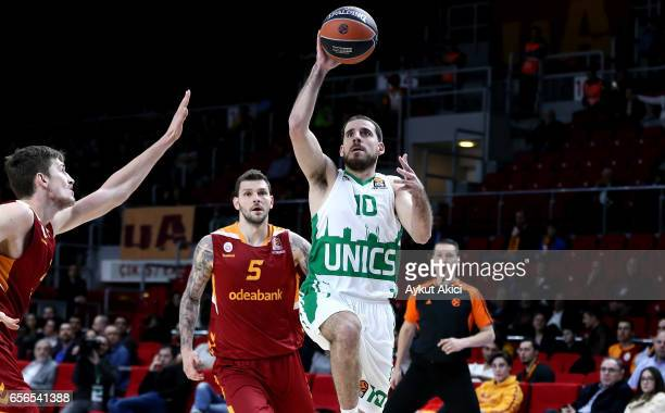 Quino Colom #10 of Unics Kazan in action during the 2016/2017 Turkish Airlines EuroLeague Regular Season Round 27 game between Galatasaray Odeabank...