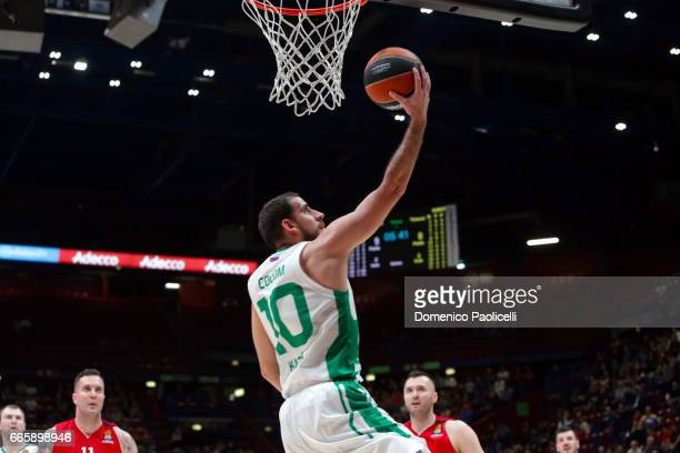 Quino Colom #10 of Unics Kazan in action during the 2016/2017 Turkish Airlines EuroLeague Regular Season Round 30 game between EA7 Emporio Armani...