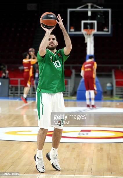 Quino Colom #10 of Unics Kazan warmsup prior to the 2016/2017 Turkish Airlines EuroLeague Regular Season Round 27 game between Galatasaray Odeabank...