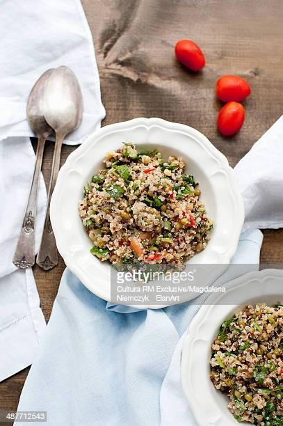 Quinoa and bean salad dish