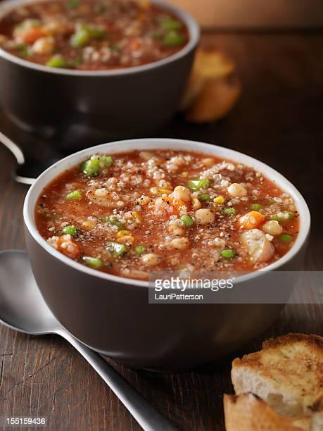 通り抜けるヒヨコ豆のスープ、野菜キノア