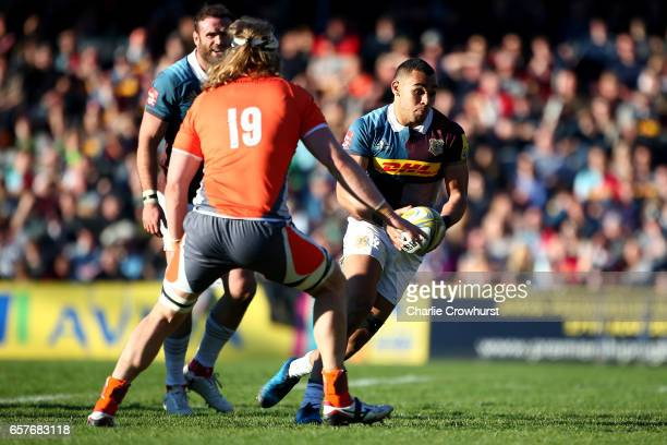 Quins Joe Marchant in action during the Aviva Premiership match between Harlequins and Newcastle Falcons at Twickenham Stoop on March 25 2017 in...