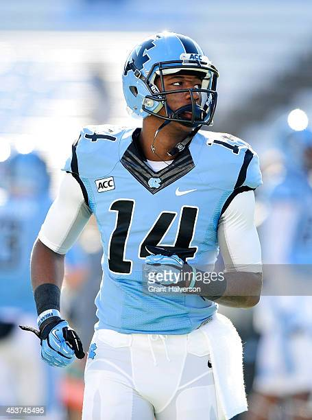 Quinshad Davis of the North Carolina Tar Heels during play against the Duke Blue Devils at Kenan Stadium on November 30 2013 in Chapel Hill North...