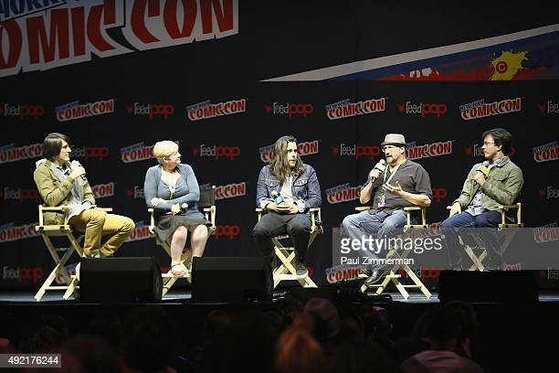 JG Quintel Paula Spence Sean Szeles William Salyers and Sam Marin speak onstage at the Cartoon Network Panel Regular Show Cartoon Network at New York...