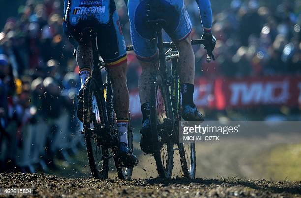 Quinten Hermans of Belgium and Jakub Skala of Czech Republic compete during the Men Under 23 race at the UCI cyclocross World championships on...