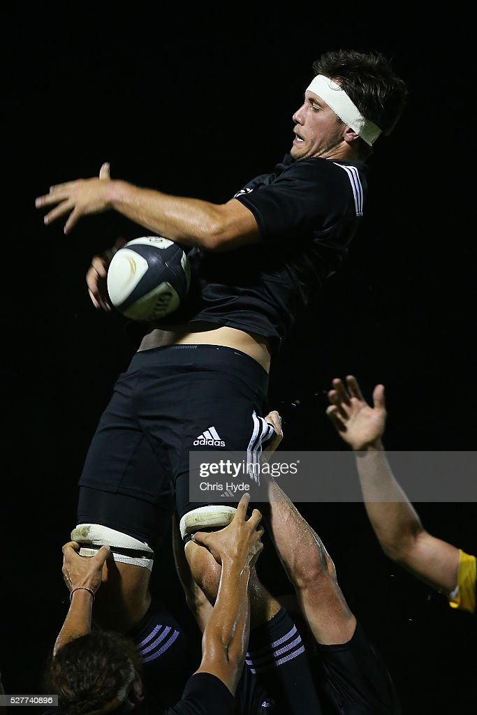 Quinten Strange of New Zealand takes the line out during the Under 20s Oceania Rugby match between Australia and New Zealand at Bond University on May 3, 2016 in Gold Coast, Australia.